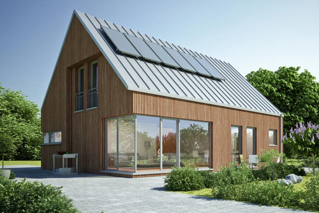 Holzhaus mit Eckfenster