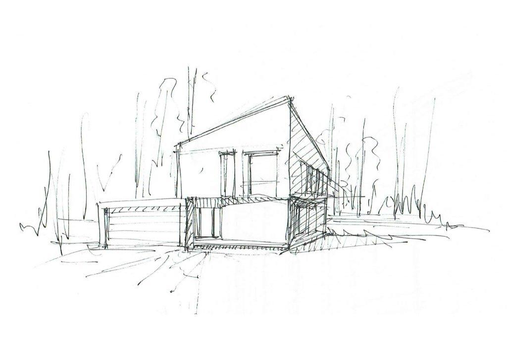 Skizze eines Einfamilienhaus
