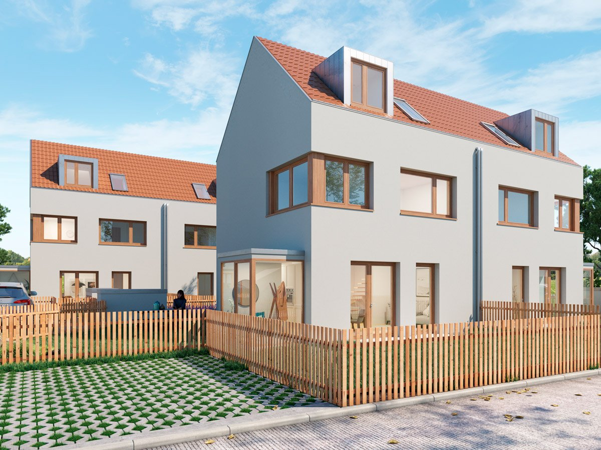 Popularc Referenz: Doppelhaus aus Massivholz - Stil 2