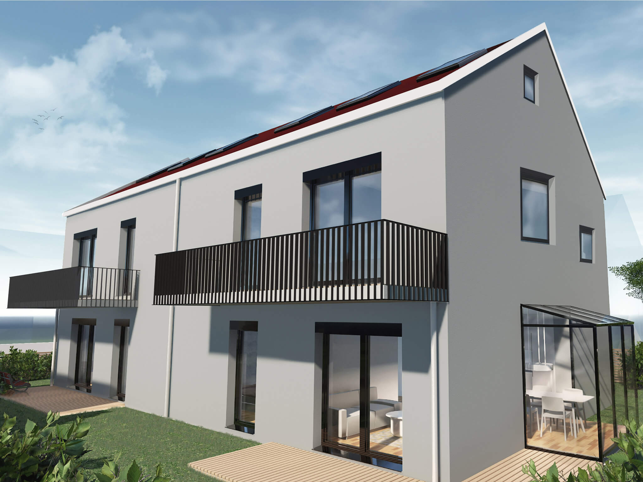 popularc Referenz Doppelhaus: Seitansicht mit Balkon