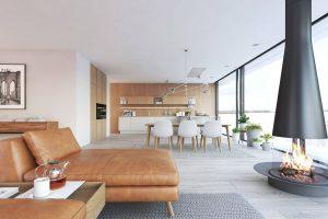 Stilvolles Wohnzimmer mit Kamin aus Holz von popularc